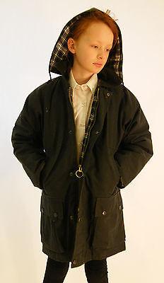 Wax Jacket Green Kids Cotton Padded Coat Age 4 5 6 7 8 9 10 11 12 13 14 15