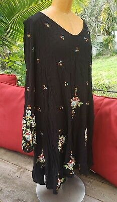 FREE PEOPLE Oxford Floral Embroidered Cut-Out Dress Peasant Tunic Boho L Black
