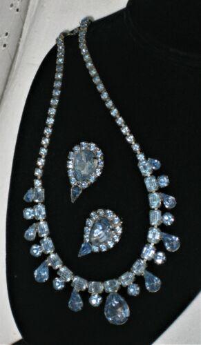 Vintage Blue Rhinestone Statement Necklace & Earring Set