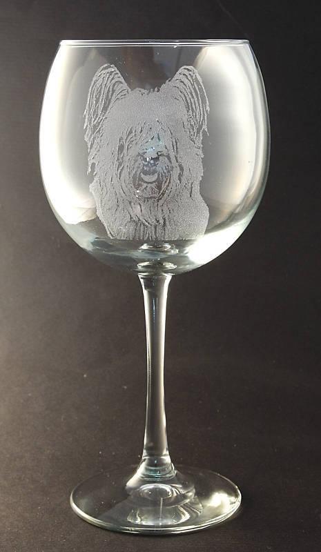 New! Etched Skye Terrier on Large Elegant Wine Glasses - Set of 2