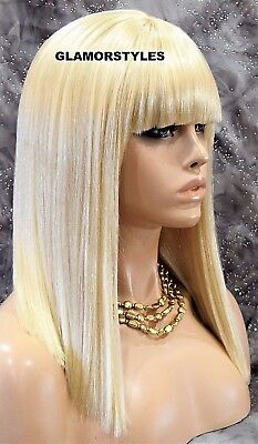 Long Straight With Bangs Bleach Blonde Full Wig Hair Piece #613 NWT - Blonde Wig With Bangs