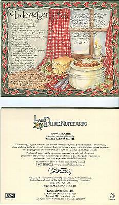 VINTAGE BLUE BIRD NEST TREE PRINT 1 COLONIAL WILLIAMSBURG  VA CHILI RECIPE CARD