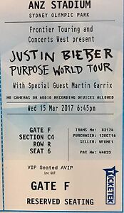 1 ticket Justin Bieber Sydney 15 March Section C4 Great Seats Sydney City Inner Sydney Preview