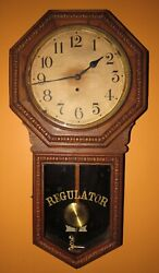 ANTIQUE WATERBURY HERON NUMBERED LONG DROP TIME WALL REGULATOR CLOCK 8-DAY