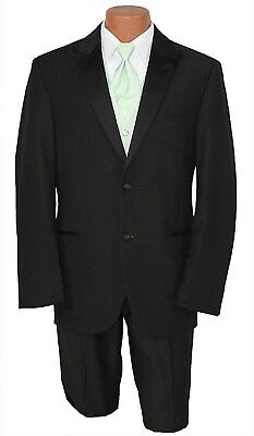 Calvin Klein Modern Formal Black 2 Button Wool Tuxedo Jacket w/ Pants Prom Suit Calvin Klein 2 Button Tuxedo