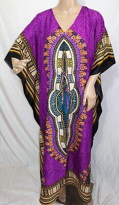 True Rock Damen Plus One Freie Größe Lang Lila Grün Dashiki Tunika Kaftan Kleid