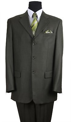 Wool Single Breasted 3 Button - Men's Wool Feel 3 button Single Breasted Olive Suit Color Fortino Landi