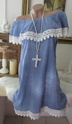 Nueva Italia Verano Vestido Carmen Batik Lavado Blogger Ganchillo Vaqueros Azul