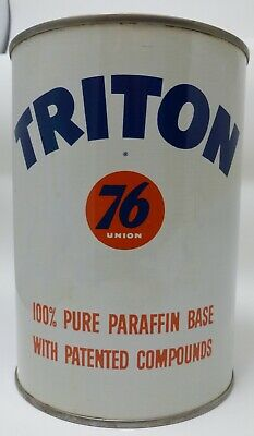 Vintage 50's Full Quart TRITON UNION 76 - 100% Pure Paraffin Base MOTOR OIL CAN