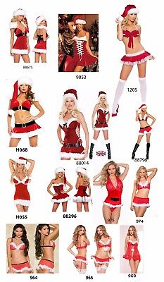 Miss Sexy Santa Ladies Christmas Outfit Xmas Womens Fancy Dress lingerie Costume