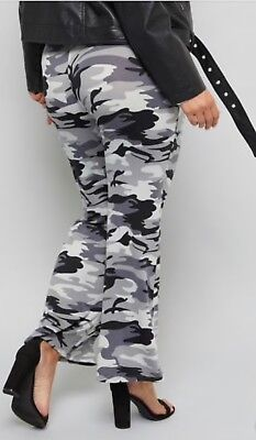 BELL bottom PLUS Buttery GRAY CAMOUFLAGE long pants flare legs 1X 2X 3X ,12-24 - Plus Size Bell Bottoms