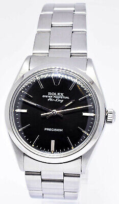 Rolex Air-King Precision Stainless Steel Black Dial 34mm Automatic Watch 5500