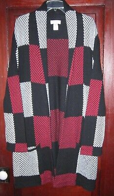 Serengeti XL 1X Cardigan Sweater Coat Duster Long Open Pockets Chunky Knit Check