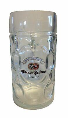 Hacker Pschorr 1L Heavy Dimple Glass Mug Stein German Beer Munchen Munich