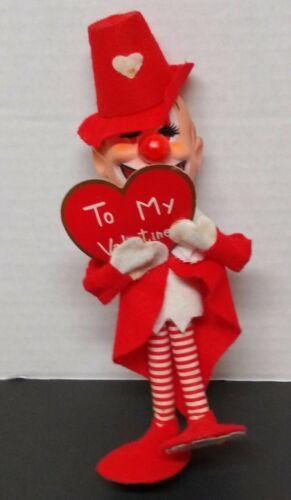 Vintage Japan Valentine Clown Card Pixie Big Feet Bendable Lyon Co GUC Felt
