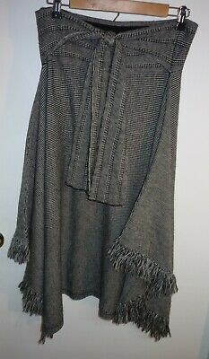 Anthropologie Sparrow Black Converged Stripes Sweater Skirt Size L Merino Wool