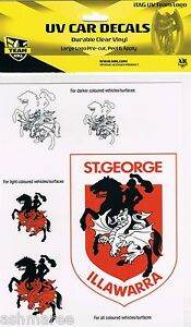 NRL St George Illawarra Dragons UV Car Decal/Sticker