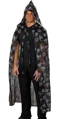 Cape Totenköpfe Halloween Umhang mit Kapuze Zombie Untoter - Halloween Kostüme Mit Schwarzem Cape