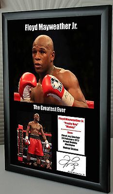 "Floyd Mayweather Jr. Boxing World Champ Framed Canvas Print Signed ""Great Gift"""