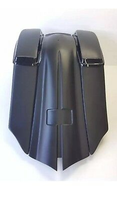 """Harley 7"""" Down & Out 14"""" Back Stretched SaddleBags Overlay Fender 97-08 FLH"""