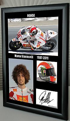 """Marco Simoncelli Motor Cycle Framed Canvas Tribute Print Signed """" Great Gift"""""""