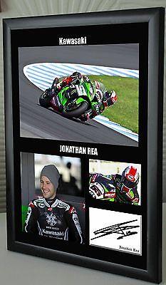"""Jonathan Rea Kawasaki Motor Cycle Framed Canvas Print Signed """"Great Gift"""""""