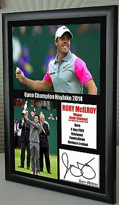 "Rory Mcilroy Open Golf Hoylake 2014 Framed Canvas Signed ""Great Gift & Souvenir"""