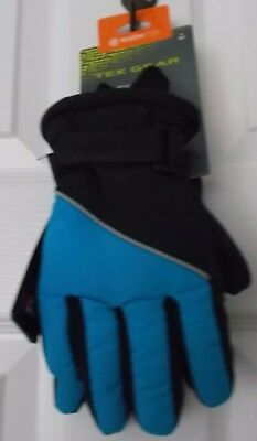 TEK GEAR BOYS' SKI GLOVES - WARM TEK - THINSULATE - BLACK & BLUE - S (4/7) - NWT