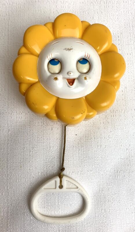 """TOMY-1977  BABY CRIB TOY Musical Flower  """"Twinkle Little Star"""" Pull-Cord Vintage"""