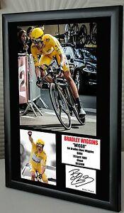 Bradley Wiggins Tour de France Olympic Framed Canvas Signed