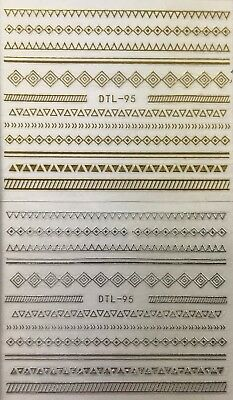 Nail Art 3D Decal Stickers Shapes Triangle & Daimond Strips Gold or Silver DTL95 Sticker Art Shapes