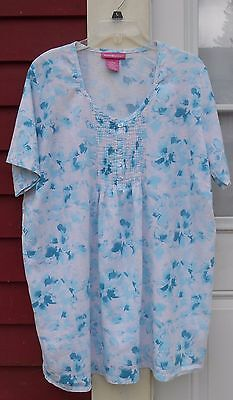 Woman Within Blue White S S Linen Blend Pleated Henley Tunic Blouse Large  47