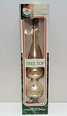 "Vintage KURT ADLER 13"" GLASS CHRISTMAS TREE TOP TOPPER Silver with GOLD TRIM BOX"