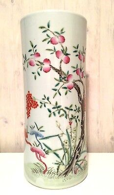 Vintage Chinese Hand Painted Famille Rose Porcelain Vase Drilled Famille Rose Porcelain Vase