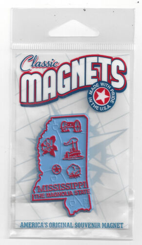 MISSISSIPPI   THE MAGNOLIA   STATE   OUTLINE MAP MAGNET in Souvenir Bag, NEW