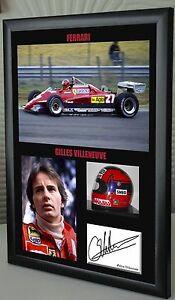 Gilles Villeneuve  F1 Ferrari Framed Canvas Signed Print