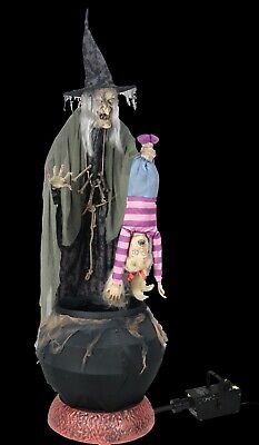 Animated Life Size Stew Brew Witch 6' W/ Kid w/ Fogger Lifesize Halloween Prop - Life Size Animated Halloween Props