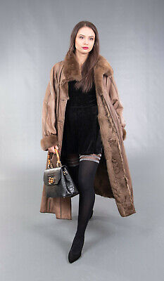 3926 AMAZING REAL LEATHER MINK COAT FUR JACKET SWINGER BEAUTIFUL LOOK SIZE 3XL Leather Mink Coat