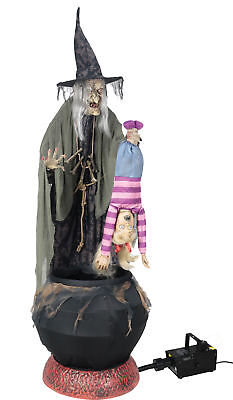 Stew Brew Witch 6' Prop W/ Hanging Kid Animated W/ Fog Lifesize Halloween (Animated Halloween Witches)