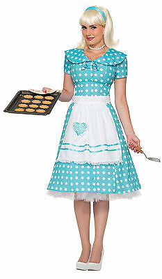 Blue Polka Dot Dress Costume (50's Housewife Costume Teal & White Polka Dot Dress Sock Hop Adult Size)