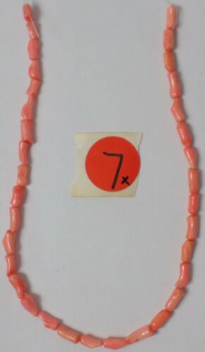 """14"""" Strand Peach Salmon Coral Branch Bamboo Skinny Tube 9-12mm Beads Old Stock"""