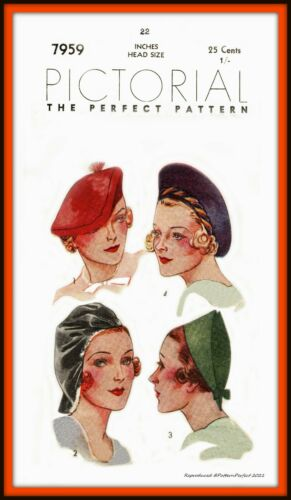 HATS Beret HALO Off-The-Face Pictorial 7959 RARE Vintage Fabric Sewing Pattern