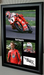 Carl Fogarty Motor Cycle Framed Canvas Print Signed Tribute