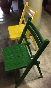 2 folding wooden vintage chairs