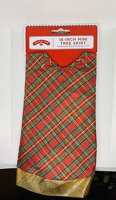 NEW Holiday Time RED GOLD PLAID 18 Inch MINI CHRISTMAS TREE SKIRT