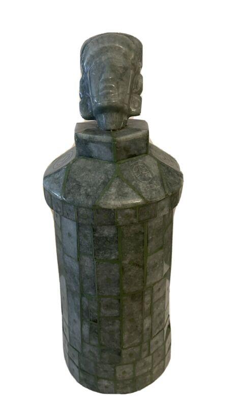 Mayan Jade Vessel Vase Mask Guatemalan Carved King Tikal Hasaw Chaan Kawil COA