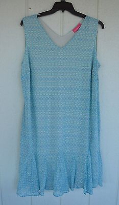 WOMAN WITHIN 20W L Blue Sleeveless Lined V-Neck Dress Godet Flared Hem ()