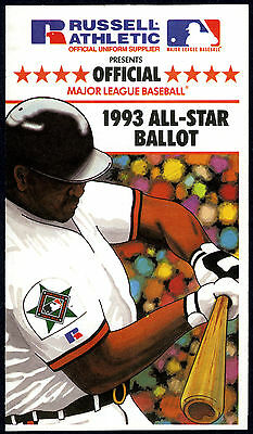 Baltimore Orioles Camden Yards - 1993 MLB ALL-STAR BASEBALL GAME UNUSED FAN BALLOT@BALTIMORE ORIOLES CAMDEN YARDS