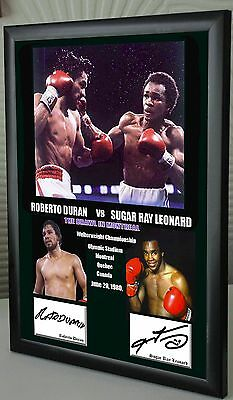 "Sugar Ray Leonard v Roberto Duran Framed Canvas Print Signed ""Great Gift"""