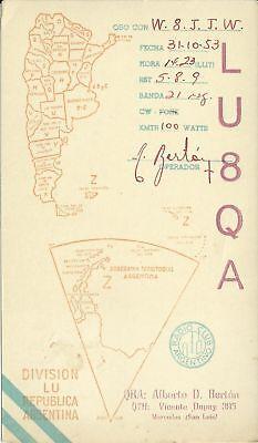 OLD VINTAGE LU8QA DIVISION LU REPUBLICA ARGENTINA AMATEUR RADIO QSL CARD